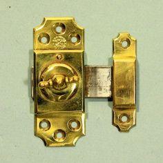 Brass cupboard door lock, complete