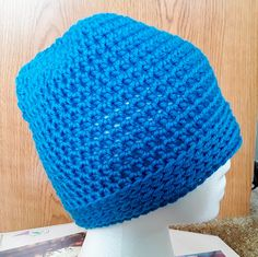 Simplicity Messy Bun Hat / Simplicity Ponytail Hat in Wild Blue by CuddleinCrochet on Etsy