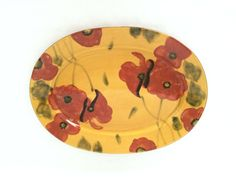 Vintage Large Oval DESIGNER POTTERY PLATTER; Ambiance Fleur Rouge; Red Poppies;Nanette Vacher; Country French Inspired Design;Red,Gold,Green by EclecticaGallery on Etsy