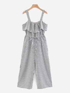 017982420870 Vertical-Striped Ruffle Trim Wide Leg Jumpsuit