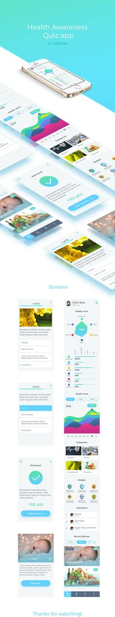 UI design for health awareness quiz app