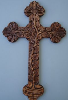 Decorative wall cross Hand carved by HOLIWOOD on Etsy, $75.00