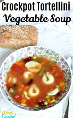 Crockpot Tortellini Vegetable Soup is an easy vegetarian soup recipe.  #crockpot #tortellini #vegetablesoup #soup #slowcooker #vegetarian