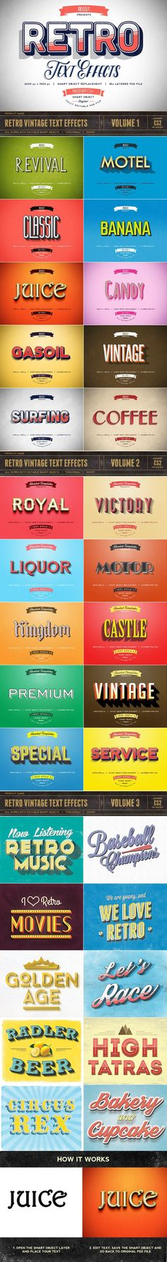 30 Retro Vintage Text Effects. Photoshop Layer Styles. $12.00