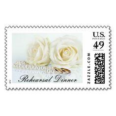 Wedding White Roses - Rehearsal Dinner Stamp