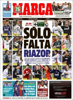 Los Titulares y Portadas de Noticias Destacadas Españolas del 23 de Febrero de 2013 del Diario Deportivo MARCA ¿Que le parecio esta Portada de este Diario Español?