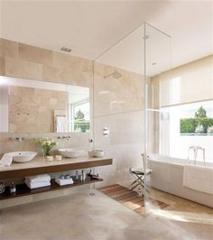 Bathroom:Brown Marble Wall Tile Glass Devider Modern Bathroom Design Calm And Beautiful Neutral Bathroom Interior Design Travertine Bathroom, Wood Bathroom, Bathroom Renos, Bathroom Colors, Modern Bathroom, Small Bathroom, Bathroom Vanities, Bathroom Canvas, Mirror Bathroom