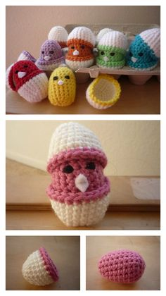 Crochet Amigurumi Rabbit Patterns Baby Chicks in Eggshell Free Crochet Pattern - My daughter loves baby chicks. Do you kids love them too? You can use these Adorable Free Chick Crochet Patterns to make some for your loved little ones. Bunny Crochet, Easter Crochet Patterns, Crochet Food, Crochet Gifts, Crochet Dolls, Crochet Yarn, Free Crochet, Knitting Patterns, Crochet Chicken