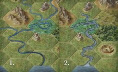 River styles - I think I'll go with 2, which is a decent chunk of drawing, but shouldn't be too hard to implement.