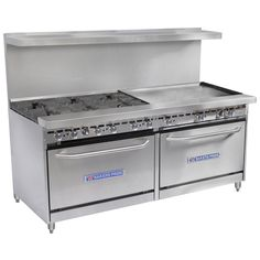 """Bakers Pride Restaurant Series 72-BP-6B-G36-S30 6 Burner Gas Range with Two Standard 30"""" Ovens and 36"""" Griddle"""