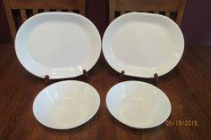 Lot Of Corelle Winter Frost White ~ 2 Serving Platters ~ 2 Serving Bowls
