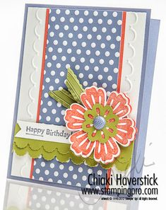 Bold patterned card by Chiaki featuring Mixed Bunch, Blossom punch, Adorning Accents edgelits & embossing folders, and Sweet Shop dsp (retired).