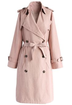 Refined Double-breasted Trench Coat in Pastel Pink - New Arrivals - Retro, Indie…