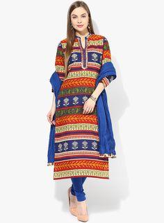 Break out of established patterns, wear creative!  SHOP HERE--> http://www.jabongworld.com/multi-kurta-churidar-dupatta.html