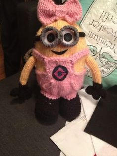 Girl Minion Despicable Me. :).  Knitted but could be cute crocheted.