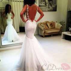 Sexy Lace Straps V neck Open Back Mermaid Wedding Dress Bridal Gowns - Wedding…