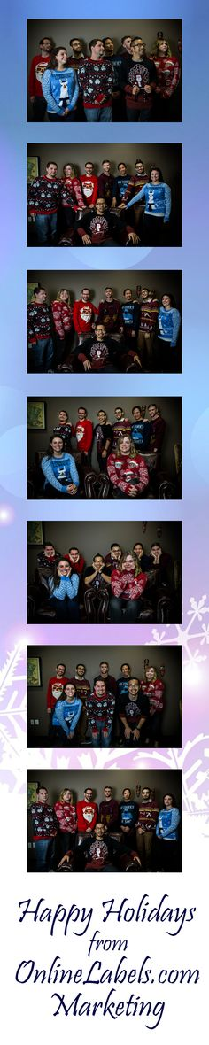 Is it family portrait time already? Happy holidays from the OnlineLabels.com marketing team! #NationalUglySweaterDay