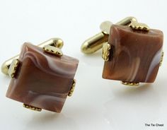 Beautiful Vintage Gold Tone Cufflinks with Swirl Stones  #thetiechest