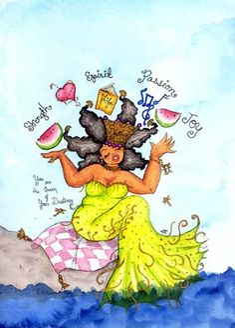 portfolio for oakland artist karin turner, girl promoting positive african-american images Black Women Art, Black Art, Woman Drawing, Drawing Women, Person Of Color, Black Mermaid, Afro Art, African American Art, Love Art
