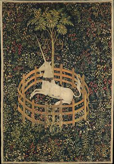 The Unicorn in Captivity-1495–1505, one of the cycle of tapestries in the unicorn tapestry collection... South Netherlandish (wool warp, wool, silk, silver, and gilt wefts~ The Metropolitan Museum of Art, New York