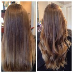 Balayage ombre done well means you can go straight or wavy and it should be completely seamless and smooth transition from darkest to lightest and varying tones between! Bronde brunette blonde this hair color has it all. Fall hair long hair beach waves babylights fine foils baby highlights babylight modern salon behind the chair