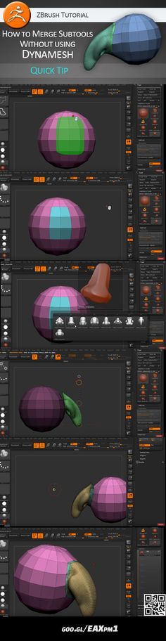 Video tutorial on how to merge subtools without Dynamesh, creating dense and loose polyframe.  https://www.youtube.com/watch?v=G-5oOHSpFpQ #zbrush #tutorial #video #merge #subtool #dynamesh
