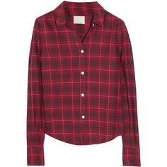 Boy. by Band of Outsiders Plaid cotton-flannel shirt ($295) ❤ liked on Polyvore featuring tops, blouses, shirts, camisas, tartan shirt, red shirt, red top, cotton shirts and red plaid shirt