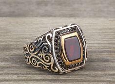 925 K Sterling Silver Man Ring Brown Agate Gemstone 12 US Size B14-63638 #istanbuljewelry #Statement