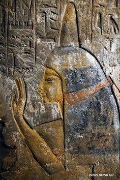 A painting of Maia, the wet-nurse of ancient Egyptian king Tutankhamun, is seen on a pillar inside her tomb located in Saqqara of Giza province, 30 kilometers south of Cairo, Egypt,  by Vtibet