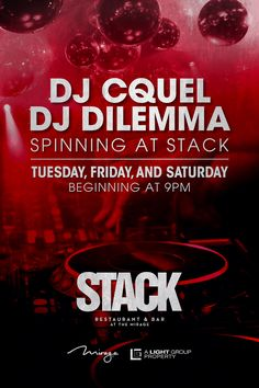 Stack Restaurant & Bar is the Ultimate Dinner, Cocktail, & Pre-Party destination before a night out @1 OAK Las Vegas!  Join us as the DJ's of Stack spin the hottest hits every Tues, Friday, & Sat starting at 9pm!