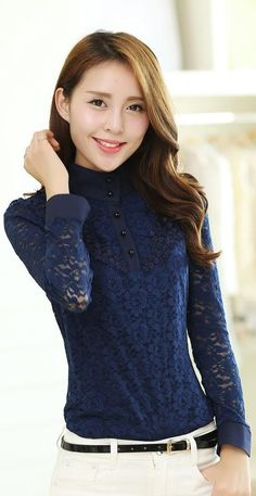 Long Sleeve Lace Blouse, Mandarin Collar, YRB, navy blue lace, korean lace top, asian lace blouse, lace blouses from asia, korean lace blouses, lace shirt long, sleeve, mandarin, collar, yrb0348, women new, arrivals