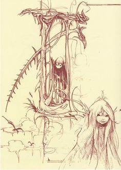 A piece of concept art by Brian Froud for The Dark Crystal (1982), a film by Jim Henson. This came from a booklet included in the modern re-issue of The World of the Dark Crystal.