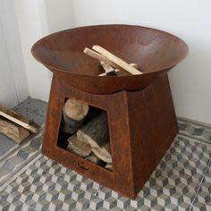 Ohniště se zásobníkem na dřevo 75x60x75cm