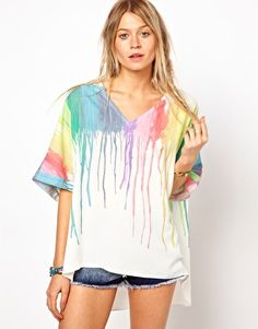 ASOS Top With Plunge Neck In Melting Rainbow