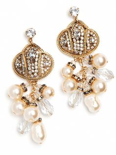 Classic is good. But classic with a rock-and-roll edge? Even better. These beautiful earrings offer a coolly experimental twist on the traditional pearl earrings with twisted gold wire, lavish crystal accents and dangling pearl fringe.  BB Spotting: As Seen In InTouch