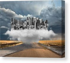 City Canvas Print featuring the mixed media High Above Us by Marvin Blaine