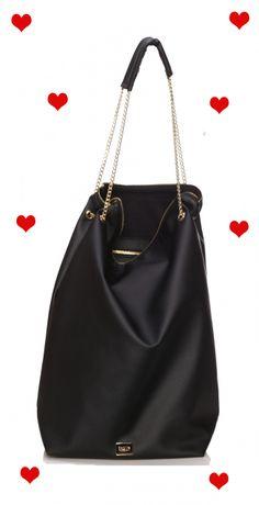 Torebra damska Bag of Secrets Smooth Black Gold Bag of Secrets - duże - torebki BagMe by Smola