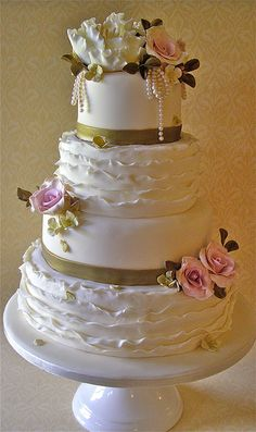 Roses & Ruffles wedding cake by nice icing, via Flickr
