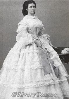 1860 Empress Elisabeth 1860 Sisi  wearing a white gown by Ludwig Angerer.