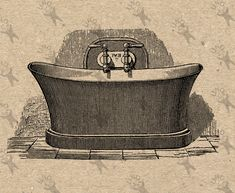 Bathtub Washing Bath Vintage retro drawing image Instant Download Digital printable clipart graphic iron on transfer burlap etc HQ300dpi by UnoPrint on Etsy #hq #png #bw #Ephemera #diy #old #book #illustration #gravure #inspiration #retro #antique #vintage #300dpi #craft #draw #drawing  #black #white #printable #crafts #transfer #decor #hand #digital #collage #scrapbooking #quality