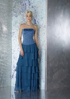 A-line Strapless Floor-length Organza Mother of the Bride Dress