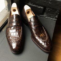 leffot:  Saint Crispin's wickedness. Alligator penny loafers so bad, yet so good. (at Leffot)