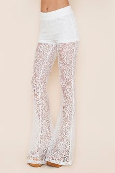 Vintage inspired whit lace pants 78.00us at Nasty Girl w/ a long top would look great!