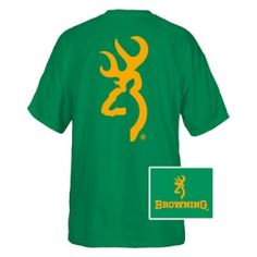 New on fleetfarm.com!  Browning Men's Custom Buckmark Tee - Turf Green/Gold - Mills #FleetFarm