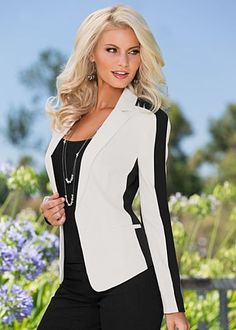 Color Block Blazer $49  Sharpen your casual or professional look with the blazer that combines contrast with color block. - Venus.com
