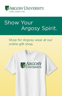 Show your Argosy University Spirit! Check out our school store! Anything Green/Yellow goes! Be proud to represent your program! Motivate others and talk about your program: blended learning, online classes, ground campus classes. Argosy swag makes a great talking point! Show off your college degree!