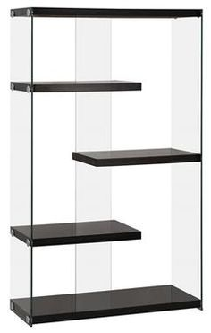 Contemporary Black Wood Glass Bookcase