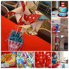 Dr Seuss Birthday. It was a lot of fun planning my son's 1st birthday. I made the cupcake stand and picks, centerpieces, favor bags and other decorations. I took some party ideas online and made them Seuss-y. Favors from Amazon, Cake by Not just Cheesecakes and Balloon Sculpture by Balloon Thrills.