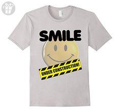 Mens funny smiley tshirt, smile under construction tee shirt 3XL Silver - Funny shirts (*Amazon Partner-Link)