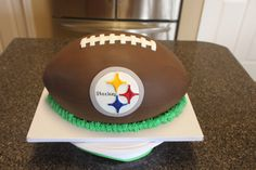 Steelers Football - Carved out of sheet cakes. The fondant had a leather texture, but unfortunately it didn't show up in the picture. Sports Birthday Cakes, Football First Birthday, Birthday Fun, Steelers Football, Pittsburgh Steelers, Cake Roll Recipes, Sport Cakes, Cake Shapes, Leather Texture